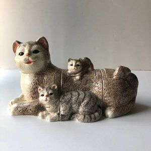 vtg cat cookie jars, set of three, vintage cats